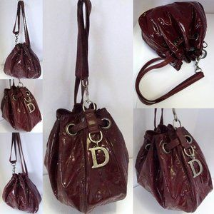 Auth DIOR Lady Cannage Travel Collapsible Hobo Bag